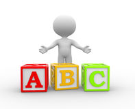 Cubes. 3d people - man, person with alphabet ABC cubes Royalty Free Stock Images