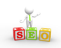 Cubes. 3d people - man, person with a cubes and word seo. Search Engine Optimization Royalty Free Stock Photos