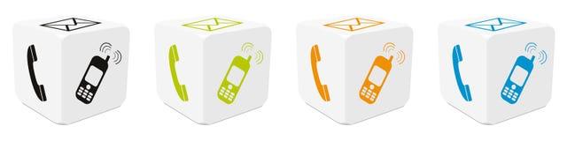 cubes 3D réglés avec les icônes tracées colorées - téléphone, email, téléphone portable - illustration de vecteur illustration stock