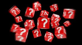 Cubes with 3D rendering question marks. On black background Stock Images