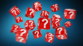 Cubes with 3D rendering question marks. On blue background Royalty Free Stock Photography