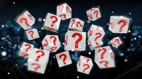 Cubes with 3D rendering question marks. On blue city background Royalty Free Stock Images