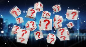 Cubes with 3D rendering question marks. On blue city background Stock Photography