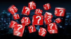 Cubes with 3D rendering question marks. On blue city background Royalty Free Stock Photos