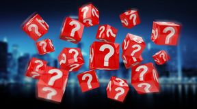 Cubes with 3D rendering question marks. On blue city background Stock Image