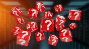 Cubes with 3D rendering question marks. On blue server background Stock Images