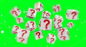 Cubes with 3D rendering question marks. On green background Stock Photos