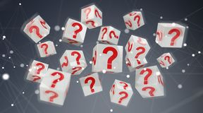 Cubes with 3D rendering question marks. On grey background Royalty Free Stock Photography