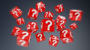 Cubes with 3D rendering question marks. On grey background Royalty Free Stock Images