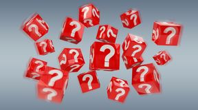 Cubes with 3D rendering question marks. On grey background Royalty Free Stock Image
