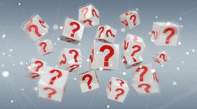 Cubes with 3D rendering question marks. On grey background Stock Photography