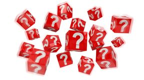 Cubes with 3D rendering question marks. On white background Royalty Free Stock Image