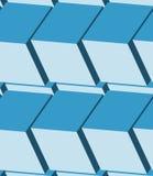 Cubes 3d seamless pattern. Monochrome blue background Stock Photos