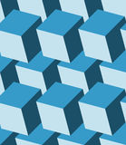 Cubes 3d seamless pattern. Monochrome blue background Royalty Free Stock Photos