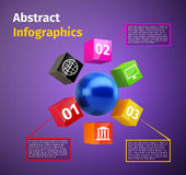 Cubes and 3d sphere infographic Royalty Free Stock Images