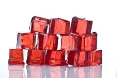 Cubes de gelée rouge Photographie stock