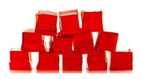 Cubes de gelée rouge Images libres de droits