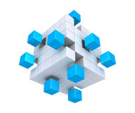 Cubes detached from square object. 3d cubes are detached from square object made of cubes Royalty Free Stock Image