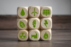 Clean Energy Climate Change Concept. Cubes dice with Clean Energy Climate Change Concept stands for renewable energy royalty free stock photography
