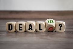 Cubes dice with deal yes or no stock images