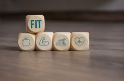 Cubes dice with fitness icons vector illustration