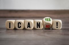 Cubes and dice with I CAN YES OR NO stock image