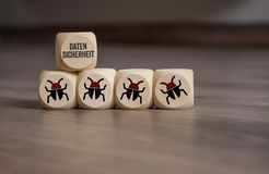 Cubes and dice with Internet security and anti virus protection stock photos