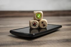 Cubes and dice with Internet security and anti virus protection royalty free stock photos