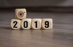 Free Cubes Dice With Targets Goals For 2019 Royalty Free Stock Photography - 131536117