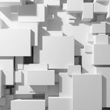 Cubes of different sizes. In random order and top view. 3D illustration Royalty Free Stock Images