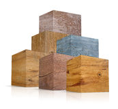 Cubes in different types of wood Royalty Free Stock Photo