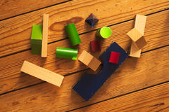 Cubes disordered on the ground top view Royalty Free Stock Images