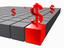 Cubes with dollar on it Royalty Free Stock Photography
