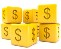 Cubes with dollar sign Royalty Free Stock Photos