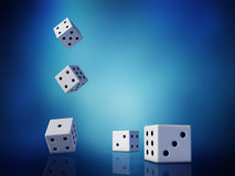 Cubes. In dynamic on blue background stock illustration