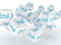 Cubes with a email, 3D images Stock Photography