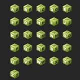 Cubes en ABC (couleur verte). Photos libres de droits