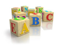 Cubes en ABC d'alphabet Photos stock