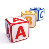 Cubes en ABC d'alphabet Photos libres de droits