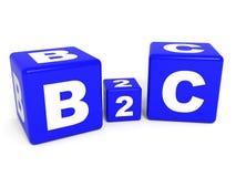 Cubes en B2C sur le fond blanc Photos stock