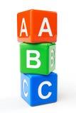 Cubes en bloc d'ABC Images stock