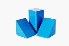 Cubes en bois bleus Photo stock