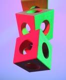 Cubes en bois colorés Photos stock