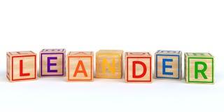 Cubes en bois d'isolement en jouet avec des lettres avec le leander de nom Photos stock