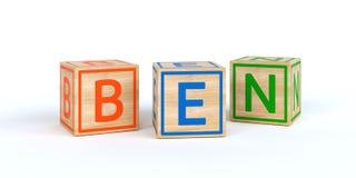 Cubes en bois d'isolement en jouet avec des lettres avec le nom Ben Images libres de droits