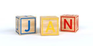 Cubes en bois d'isolement en jouet avec des lettres avec le nom janv. Photo libre de droits