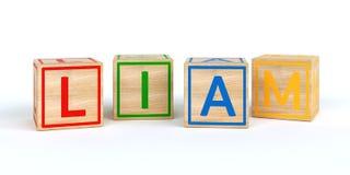Cubes en bois d'isolement en jouet avec des lettres avec le nom Liam Image stock