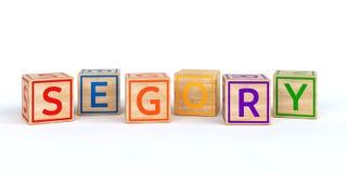 Cubes en bois d'isolement en jouet avec des lettres avec le nom segory Image libre de droits