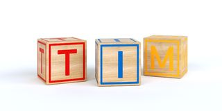 Cubes en bois d'isolement en jouet avec des lettres avec le nom Tim Photos stock
