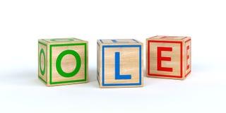 Cubes en bois d'isolement en jouet avec des lettres avec le nom vieux Images libres de droits